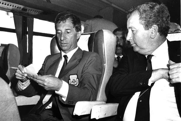 Junto a Bilardo en 30 de junio de 1986.  Foto:Archivo