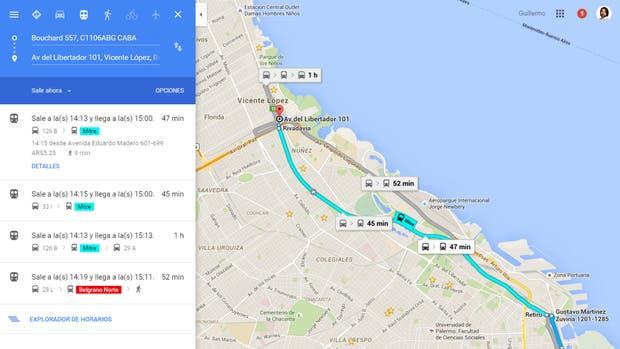 Los datos de transporte público de Google Maps fueron proporcionados por las autoridades gubernamentales y las empresas de tren, colectivo y subte