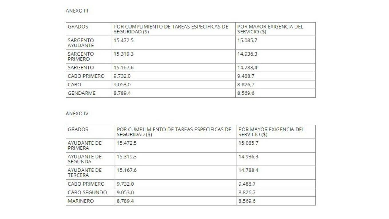 Las subas en los suplementos para gendarmes y prefectos Boletín Oficial