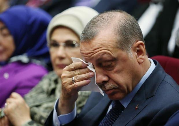 Erdogan, ayer, durante el acto de reincorporación a su antiguo partido