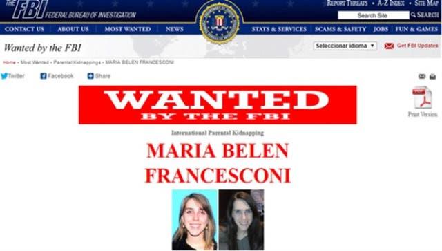 El registro del FBI donde María Belén figura como buscada