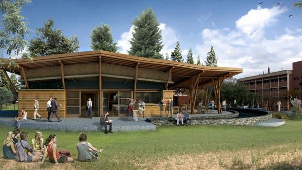 Boceto del edificio creado con materiales naturales