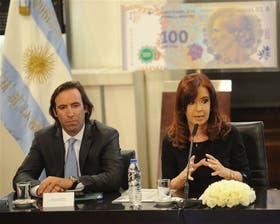 El ministro Lorenzino, ayer, en Casa de Gobierno