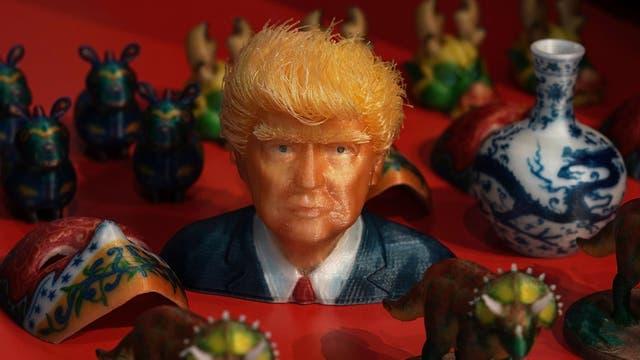 La figura de Donald Trump aparece entre las muestras de impresiones 3D