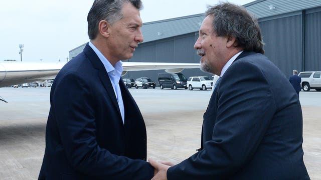 Mauricio Macri en su arribo a Houston. Foto: DyN / Presidencia