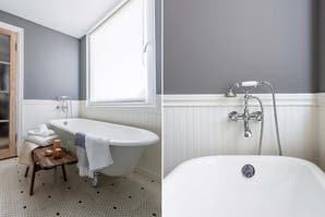Dos baños con aire clásico