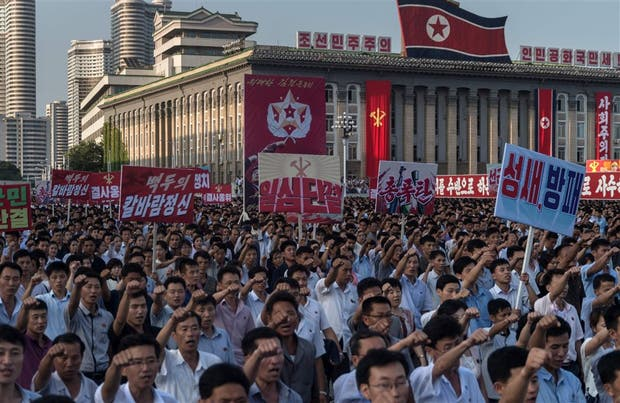 Un acto en respaldo del régimen en su escalada retórica contra Washington, ayer, en Pyongyang