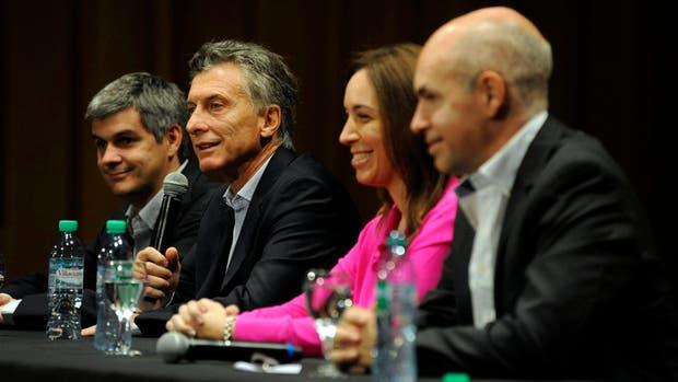 Macri habla junto a Peña, Michetti y Larreta