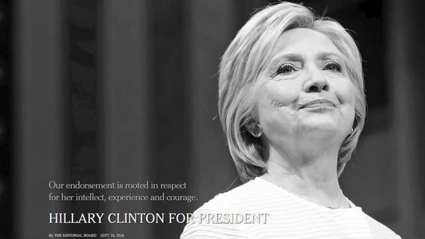 Así presentó The New York Times su respaldo a Hillary Clinton