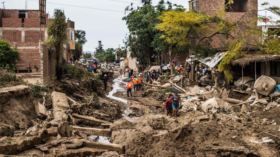 Impactantes imágenes del alud que azotó parte de Lima, Perú. Foto: AFP