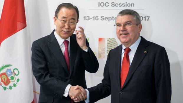 Ban Ki Moon y Thomas Bach, en Lima