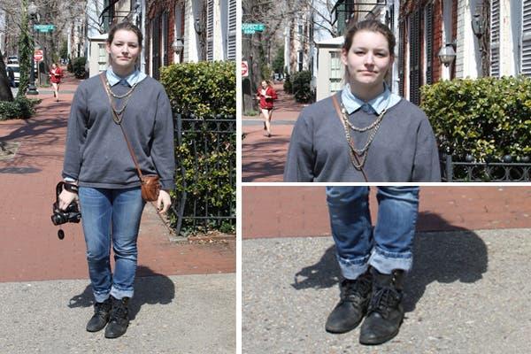 ¡La camisa de jean sigue siendo un clásico! Acompañala con un collar y no tengas miedo a combinarla con más jean en la parte inferior! Como detalle, una cartera vintage marrón.