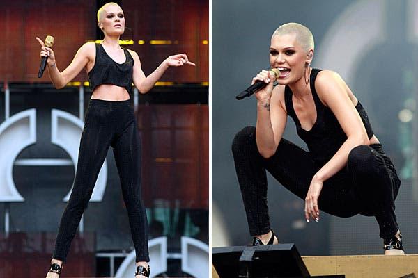Jessie J, con un look súper cómodo para moverse en el escenario. ¿Qué te parece su estilo?. Foto: Reuters y AP