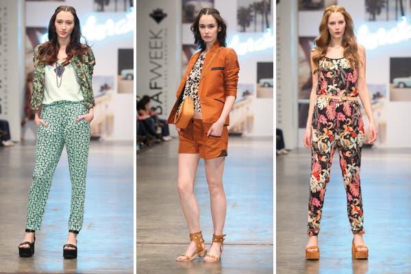 Desiderata con tres looks bien distintos: pantalón estampado, blazer y short, y mono de flores. Foto: Prensa BAFWEEK