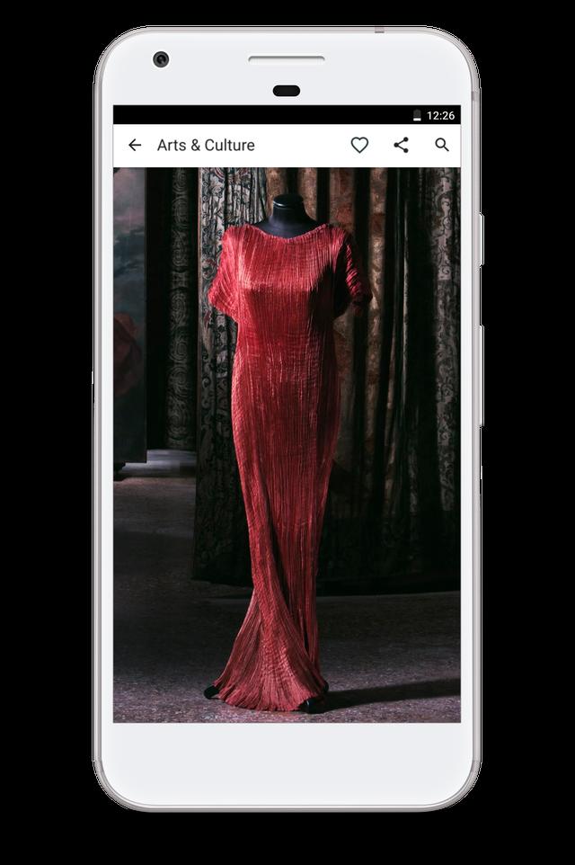 Así se ve el vestido Delphos de Mariano Fortuny (1909) desde la app Google Arts & Culture