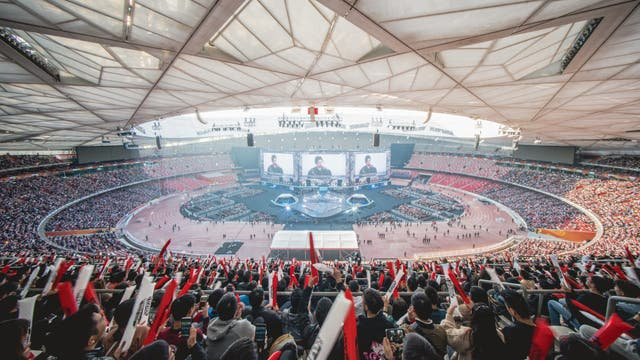 Una vista del Estadio Olímpico de China con 60 mil espectadores que siguieron la final del torneo de League of Legends