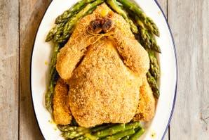 Pollo crocante con espárragos