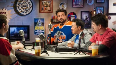 Kevin Smith junto a Ming Chen, Mike Zapcic y Walter Flanagan en Comic Book Men