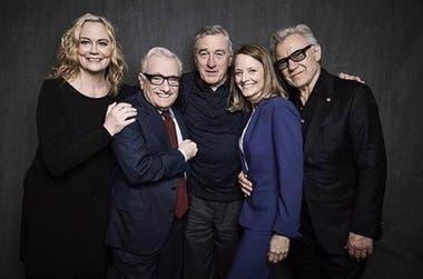 Reencuentro del director Martin Scorsese y el elenco de Taxi Driver en 2016 con motivo del 40 aniversario del estreno de la película