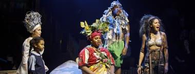 Lea Salonga, la pequeña Emeson Davis, Alex Newell, Quentin Earl Darrington y Tamyra Gray, en una escena de Once on this island. Foto: Joan Marcus