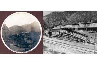 El hotel de finales del siglo XIX vs. el hotel que el aluvión se llevó en 1934.