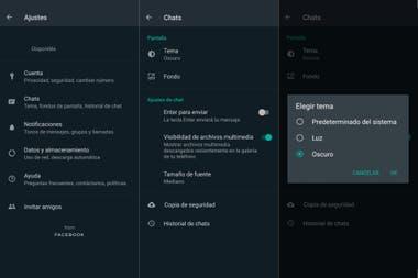 Los pasos para ir al modo oscuro en Android: en Ajustes ir a Chats, luego a Tema, y ahí elegir la opción