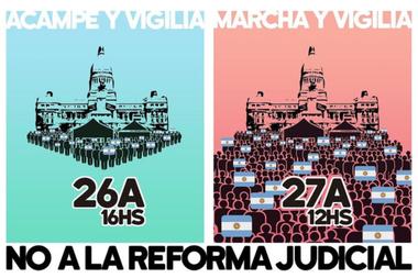 La protesta del 26A contra la reforma judicial también incluirá, desde esta noche, una vigilia en las calles que rodean al Congreso y, mañana a las 12, se realizará un abrazo simbólico al Parlamento
