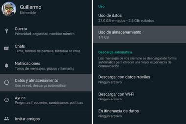 La opción Datos y almacenamiento, disponible dentro de la configuración de WhatsApp, indica cuánto espacio se está utilizando en el teléfono