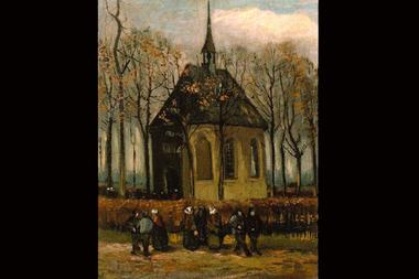 """""""Congregación saliendo de la iglesia reformada en Nuenen"""", la pintura que robó Durham"""