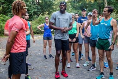 La charla con otros atletas en el paso de Bolt por Nueva York