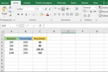 El cálculo de porcentaje en Excel
