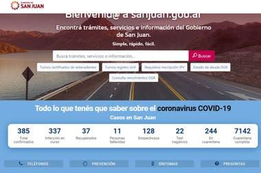 Los datos que figuran en la web del gobierno de San Luis este martes a las 18