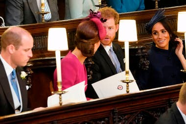 William, Kate, Harry y Meghan antes del comienzo de la ceremonia