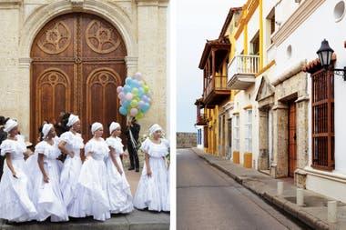 Frente a la iglesia de Santo Toribio, nos topamos con un grupo del ballet folclórico Ekobios, listo para recibir a los novios y acompañarlos durante la boda con danzas típicas: rituales que se mezclan y se entrelazan.