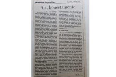 La columna de Olímpico (Alberto Laya) en el diario LA NACION, dedicada a la actitud de Sabatini con Madruga.