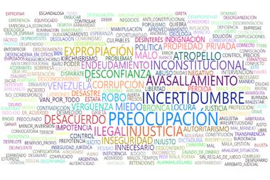 Una nube de palabras muestra las expresiones más utilizadas por los productores encuestados al referirse a la intervención de Vicentín