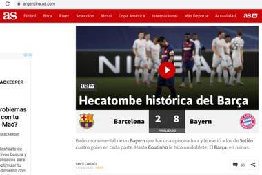 Contundente título del diario madrileño As.