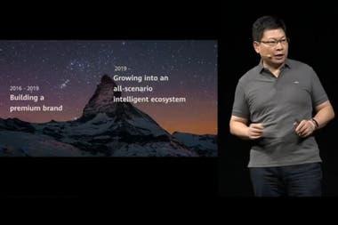 Richard Yu, responsable de la división de Consumo de Huawei, durante el anuncio de las novedades de HarmonyOS durante la conferencia de desarrolladores de la compañía