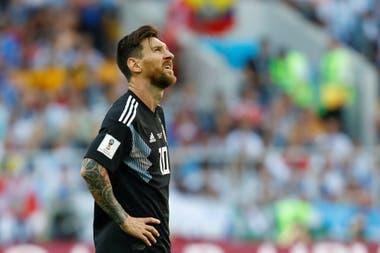 Messi, durante el primer partido de Argentina en el Mundial Rusia 2018