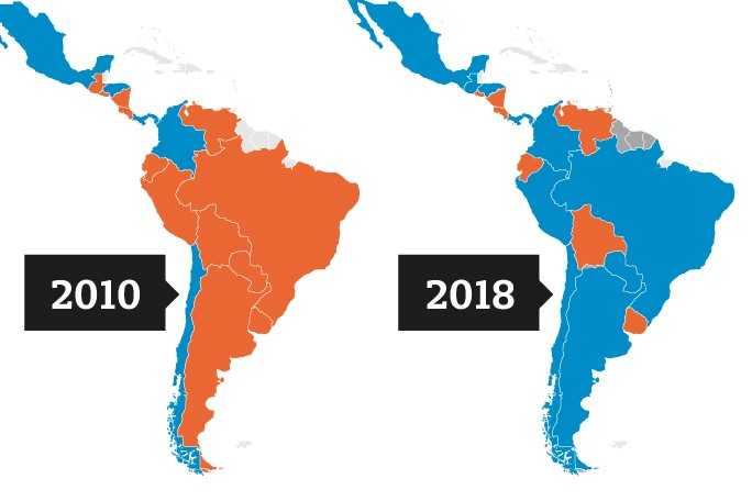 Resultado de imagen para MAPA POLITICO AMERICA LATINA CAMBIO A LA DERECHA 2018