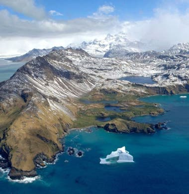 Muchos icebergs acaban varados en las aguas de poca profundidad en torno a las islas Georgias del Sur