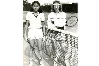 Sabatini y Madruga, el 25 de octubre de 1983, en el BALTC, antes del partido por la 1a ronda del Abierto de la República.