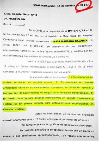 Fojas de la denuncia por agresión en manada a Nahir Galarza, en 2014