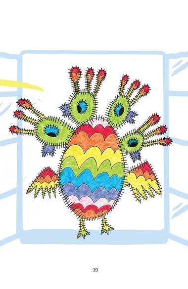 Un ave de colores con cuatro cabezas