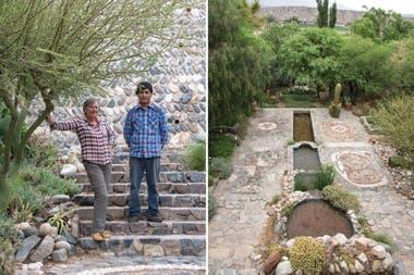 Izquierda: Jackie y Martín Liendro, su fiel ayudante en el jardín y en la posada. Derecha: El magnífico trazado del solado, construido enteramente con piedras del lecho del río. Un ñandú, una rana, el símbolo del sol y de la luna se repiten en la cerámica precolombina de los valles.