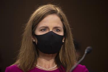 La jueza conservadora Amy Coney Barrett, hoy, en la audiencia del Senado de Estados Unidos