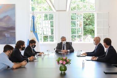 Allberto Fernández se reunió esta mañana con Axel Kicillof y Horacio Rodríguez Larreta en la Quinta de Olivos