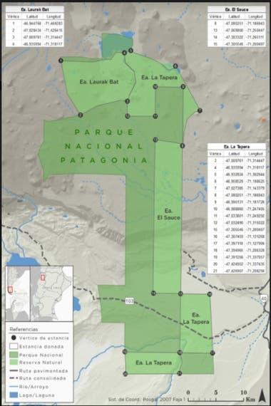 En verdes claro las tres estancias donde fue creada por decreto la Reserva Natural Silvestre Patagonia que ahora se declaró inconstitucional