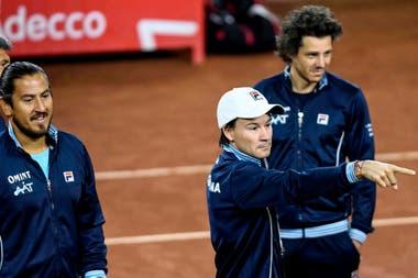 Los capitanes de equipo argentino: Cañas, Coria y Gaudio.