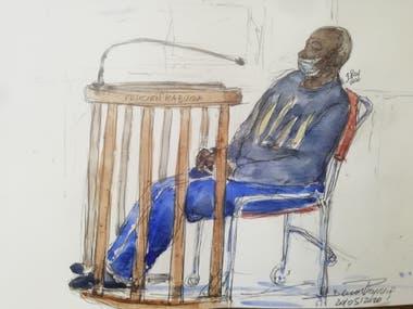 Un dibujo muestra a muestra a Felicien Kabuga, uno de los últimos sospechosos clave en el genocidio de Ruanda en 1994, tal como apareció públicamente por primera vez en el Tribunal de Apelaciones de París